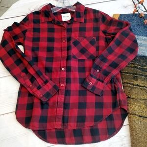5/25 MUDD red black plaid cotton long sleeve shirt